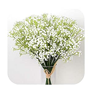 Silk Flower Arrangements HaHapo 1 Piece White Babies Breath Flowers Artificial Fake Gypsophila DIY Floral Bouquets Arrangement Wedding Home Decor Flower-