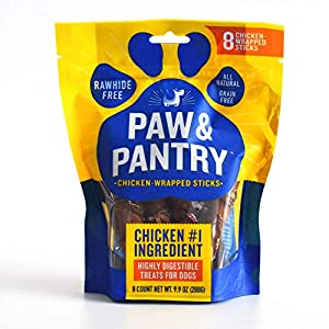 Paw & Pantry Rawhide Free Dog Snack USA Chicken Wrapped Sticks No-Rawhide Dog Treat for Small Dogs and Medium Dogs with Real Chicken 8 Pack