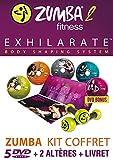 ZUMBA-2-EXHILARATE-Coffret 5 DVD+ 2 Haltères + 1 Livret-Version Française