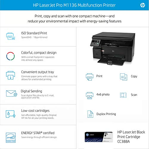 HP Laserjet Pro M1136 Printer with Scanner and Copier