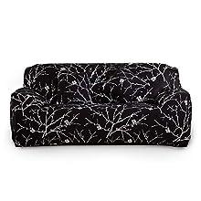 ENCOFT Funda de Sofá Elástica Cubierta Protector para Sofá Ajustable Cubre Sofá con Cuerda de Fijación en Poliéster Spandex Impresión, Negro 3 Plazas