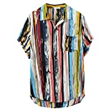Maryia Stylish Summer Casual Hawaiian Stripe T Shirts for Mens Multi Color Print Polo Shirts Button Down Loose Tops
