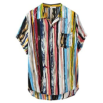 Colored Stripped Hippie Shirt for Men,Stylish Baggy Roll-Tab Sleeve Tee Holiday Beach Yoga Tropic Button Blouse by Leegor
