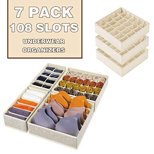 7 Pack Sock Underwear Drawer Organizers Dividers, 108 Slots Foldable Fabric Closet Cabinet Organization and Storage Boxes for Storing Sock, Toys, Underwear, Clothes, Ties