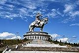 XJLAC Rompecabezas 1000 Piezas Rompecabezas Rompecabezas para Adultos, niños, Familia 1000 Rompecabezas de Madera Juguetes educativos Regalos Estatua de equitación de Genghis Khan