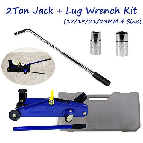 Soporte de rueda telescópico con 17/19/21/23 mm de tamaño de enchufe y 2 toneladas hidráulico de elevación de 135 – 320 mm, herramientas de emergencia para reparación en carretera