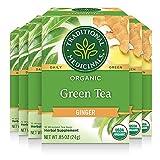 Traditional Medicinals Organic Green Tea Ginger Tea (Pack of 6), Promotes...
