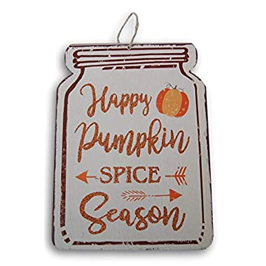 Regent Harvest Fall Jar Happy Pumpkin Spice Season Glittery Hanging Sign - 8 x 10.75 Inches