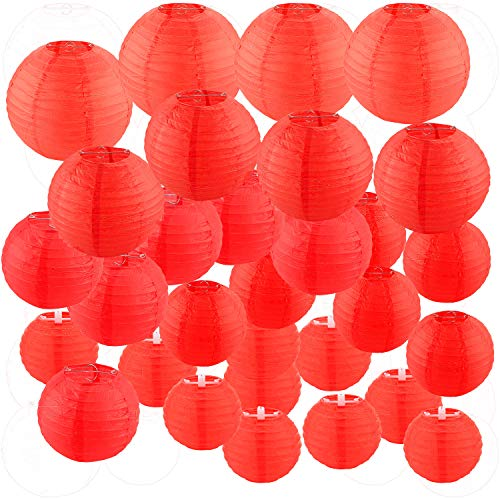 30 Pack Red Paper Lanterns 4' 6' 8' 10' 12' Assorted Sizes, CBTONE Red Hanging Round Lanterns Decorative Chinese Paper Lanterns for Birthday Wedding Baby Shower Festival Christmas Party Decoration