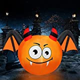4FT Halloween Inflatables Decoration, Pumpkin with The Dragon Cat Wing, Lighted Halloween Blow Up Outdoor Decorations for Holiday/Party/Yard/Garden