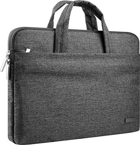 CCPK 15.6' Laptop Case 15.6 Inch Compatible for MacBook Pro 16 Inch Sleeve 15 Inch Case Cover Hp Lenovo Acer ASUS Dell Inspiron 15 In Alienware Bag with Handle Waterproof Canvas Briefcase Black Grey