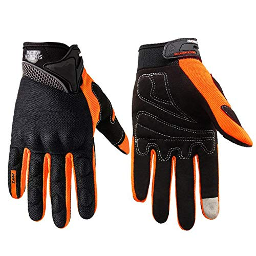 QINQIN - Guanti da sci invernali, regolabili, touch screen, traspiranti, Arancione, L