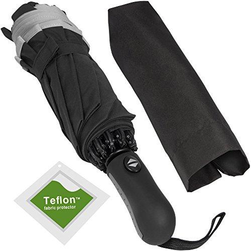 Veckle Umbrella, Safety Auto Open/Close Compact Umbrella Automatic Windproof Foldable 10 Ribs Rain Umbrella with Teflon Coating,Travel Umbrella for Men Women, Non-Slip Handle, Black