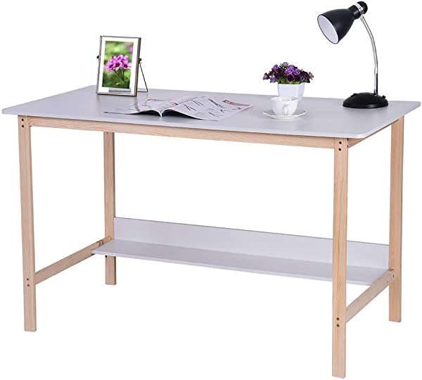 Lebeauty Simple Computer Desk PC Laptop Writing Study Table Gaming Computer Table Workstation Wood Desktop Metal Frame Study Table Workstation For Home Office Furniture 47 2 23 6 29 1in White