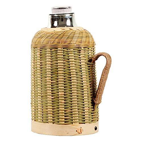 Borraccia Termica A Doppia Parete In Acciaio 1600 ml fatti a mano in tessitura di tessitura di tessitura di tessitura per acqua calda con acqua calda con maniglia di copertura del sughero Boccetta sot