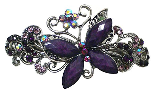 Gorgeous Butterfly Barrette with Beads and Crystals U86800-0053purple by Bella