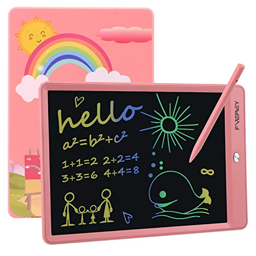 FVEREY LCD Writing Tablet,Electronic Colorful Screen Drawing Tablet,10 Inch Educational and Learning Doodle Board Toy for 2-8 Years Old Boy Girl,Kids Favorite Writing & Drawing Pad Gift Pink