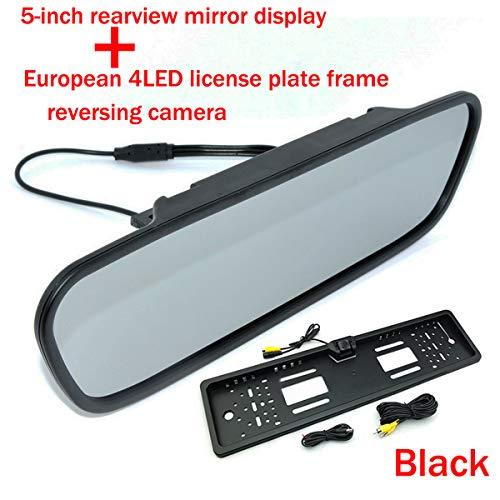 Vision de nuit EU Montage de plaque d'immatriculation vue de recul par caméra de recul Lignes de guidage avec 5 pouces couleur TFT LCD HD rétroviseur de voiture Écran Moniteur de recul de voiture