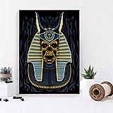 TELEGLO (No Frame 50 * 70cm Vintage máscara egipcia Antigua y cráneo de faraón Egipto Abstracto Arte Lienzo póster Imagen de Pared para Sala de Estar