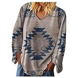 Camiseta de manga larga para mujer, de gran tamaño, con estampado foral fluido, para mujer, elegante y elegante, cuello en V, manga larga, B-gris., M