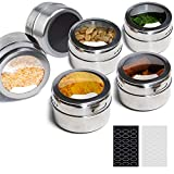 ILEBYGO Magnetic Spice Tins 6pcs Stainless Steel Spice Jars Storage Spice Containers,Clear Top Lid with Sift or Pour,48 Blank Spice Stickers Include,Magnetic on Refrigerator and Grill