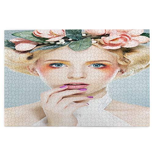 Rompecabezas de 1000 Piezas,Rompecabezas de imágenes,Hermosa Chica Rubia supermodelo en Corona de Flores Retrato,Juguetes Puzzle for...