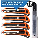 REXBETI 4-Pack Utility Knife with Extra 10 Blades. Industrial Grade Heavy Duty Retractable Box...