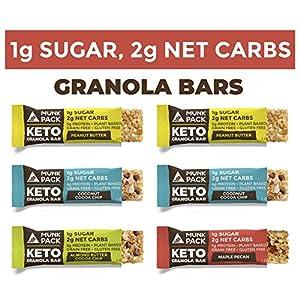 Munk Pack Variety Keto Granola Bars with 1g Sugar, 2g Net Carbs | Keto Snacks | Chewy & Grain Free | Plant Based… 6