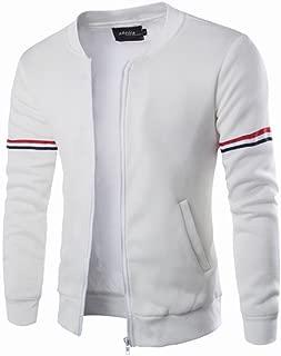 Canserin Hot Sale! Men Jacket, Mens Autumn Winter Decorative Ribbon Leisure Jacket Casual Stand Collar Zipper Coat