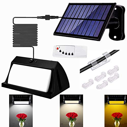 Solar Light Outdoor/Indoor 2200Mah-2021 UPGRATED Remote 12 Lights Dimming 3 Colors Switching 300 LED Solar Power Wall Light Waterproof Led Securtiy Night Light 9.8Ft Separable Solar Panel Light