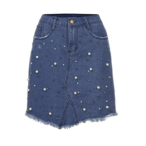 Jupe Femmes Toamen Irrégulière Denim Jupe Mini-jupe courte taille haute Jupe en jean perlée Mode (XL, Bleu)
