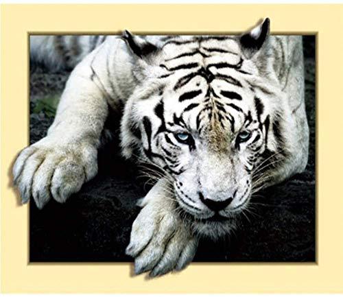 LVGUMM Kit de pintura por números para adultos y niños, kit de regalo de pintura al óleo digital preimpresa, decoración del hogar, tigre animal 3D, 40 x 50 cm, sin marco
