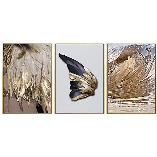 ZNNHERO Arte Abstracto Pluma Dorada póster impresión Lienzo Pintura Imagen Pasillo hogar Pared Arte decoración se Puede personalizar-50x70cmx3 sin Marco