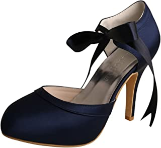 Wedopus MW705 Women Mary Jane Stiletto Heels Prom Ribbon Tie Navy Prom Party Shoes for Special Occasion