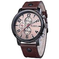 ZooooM クロノグラフ ラウンド デザイン アナログ 腕 時計 フェイク レザー ベルト ファッション アクセサリー フォーマル カジュアル ビジネス メンズ 男性 (ブラウン ホワイト) ZM-CLWC356-BRWH