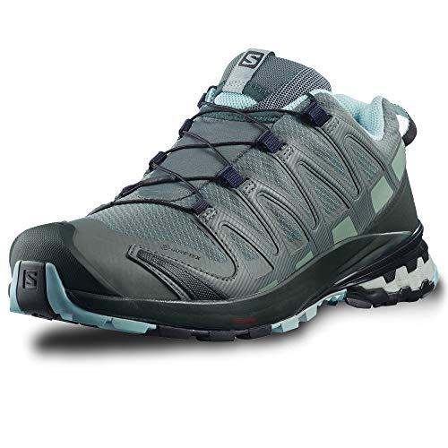 Salomon Damen Xa Pro 3d V8 Gtx Trail Running Shoe,Grau/Grün (Balsam Green/Green Gables/Pastel Turquoise), 40 2/3 EU