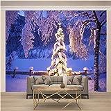 JKM Wallpaper 3D No Tejido Cartel De Pared Autoadhesivo Mural Tamaño Múltiple Navidad Nieve Árbol De Navidad Mural Fotomural Papel Pintado Fondo De Pantalla Personalizado Hd Exquisito Tv Fondo Pared S