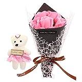 NUOBESTY Jabón Perfumado Ramo de Flores Rosa Artificial Ramo Floral Ramo Caja de Regalo con Osito de Peluche para Boda Día de San Valentín Presente Rosa