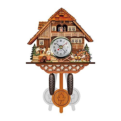Cuckoo Clock Traditional Chalet Black Forest House Clock Handcrafted Retro Wooden Wall Pendulum Quartz Clock