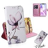 Dmtrab Phone Case for Huawei Nova 3 Boîtier de portefeuille, motif de fleurs de magnolia dessin...
