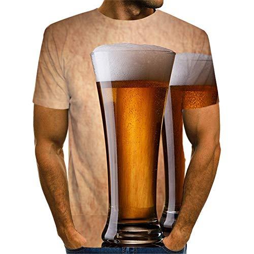 Unisex 3D T-Shirt Patrón Impresa M Vaso de Cerveza Gráfica Printed Hombre/Mujere Camiseta Verano Casual Fashion Cool Funny Manga Corta Tshirt Divertidas Tops