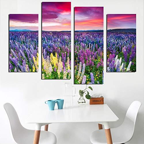 MMLXHH 4 Bilder Leinwand Wandkunst Bilder Modernes Wohnzimmer 4 Stück Bunte Lavendel Blumenfeld Schöne Himmel Dekor HD gedruckte Poster