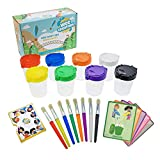 Wee Creators Paint Cups for Kids - No Spill   Paint Brushes with Matching Colors   Set of 8 Each   Fun Color...