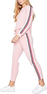 SOMTHRON Women's Casual Autumn Spring Sports Sweatsuits 3XXL Side Striped Cotton Tracksuit Jumper Sets Plus Size