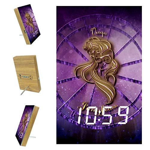 Yumansis Virgo Signo del Zodíaco Horóscopo Astrología Reloj Despertador Digital LED Temporizador de Despertador Reloj de cabecera con repetición, batería incluida, para Dormitorio, Oficina 3.8In