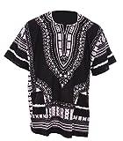 Black Traditional African Print Unisex Dashiki Shirt (XXXX-Large)