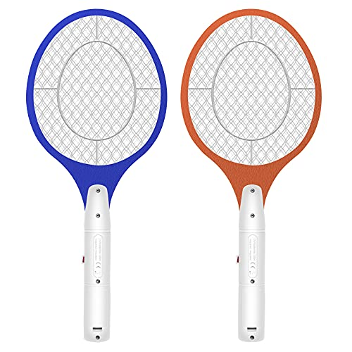 Micnaron Electric Fly Swatter 2 Pack, Portable Fly Mosquito Swatter 3500V, Handheld Bug Zapper Racket with Safe to Touch Mesh Net (Blue &Yellow)