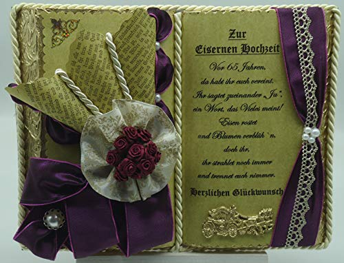Eiserne Hochzeit -65-jähriges Ehejubiläum- Dekobuch (mit Holz-Buchständer), Schmuckbücher für alle Anlässe