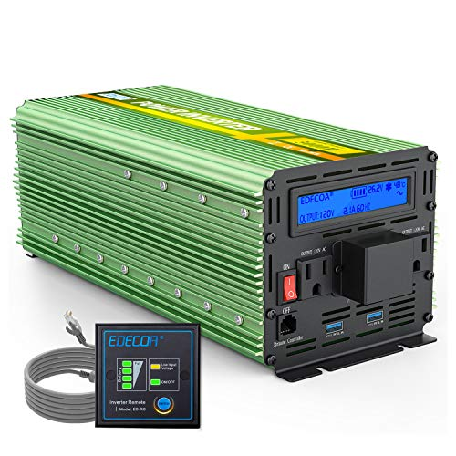 EDECOA 24V Power Inverter 3000 Watt DC 24V to AC 110V 120V 3000W Power Converter with LCD Display and Dual USB Remote