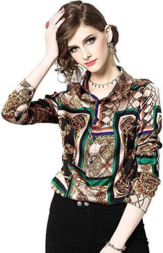 DOVWOER Damen Elegant Bluse mit Blumenmustern & Barock Print Langarm Button-Down Stehkragen Hemd Casual Tops, Mehrfarbig-3, 38
